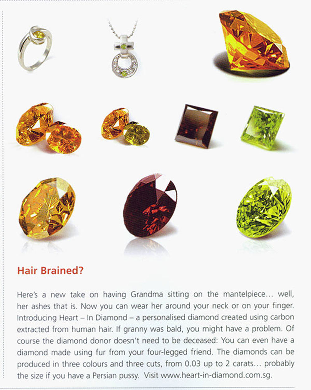 Orange, yellow, red and green diamonds from human hair and pets hair