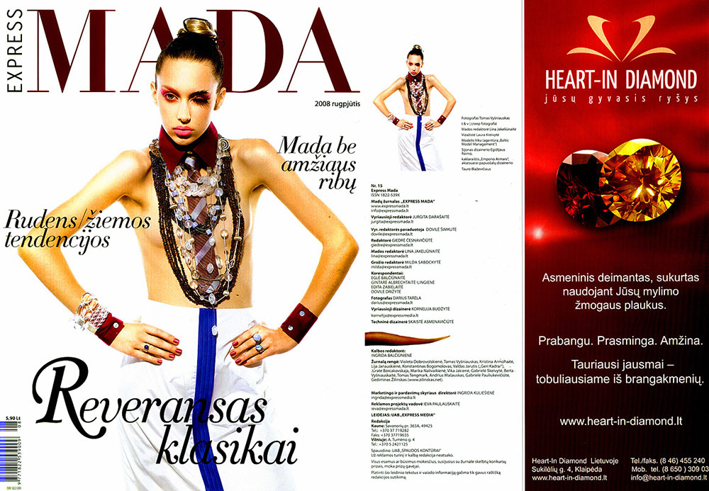 advertisement showing Heart In Diamond in Lithuania with red and orange round cut diamonds