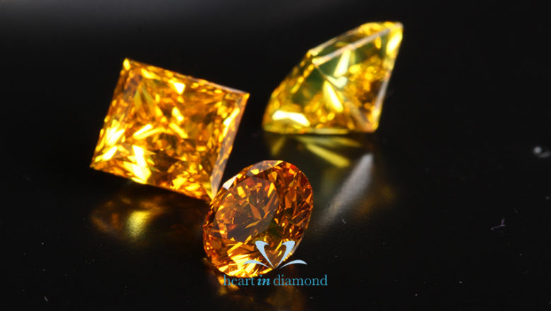 Three cremation diamonds from ashes, round cut and princess cut