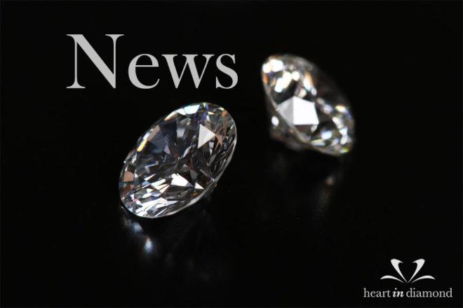 Diamond news cover image, showing 2 white memorial diamonds and the heart in diamond logo