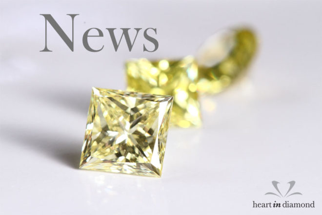 cremation diamond news cover image, showing 2 yellow diamonds and the heart in diamond logo