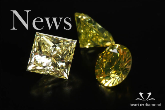 Diamond news cover image, showing one yellow square cut diamond and 2 round cut diamonds