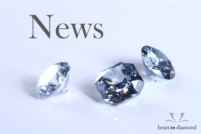 Diamond news cover image, showing 3 blue diamonds made from ashes and the heart in diamond logo