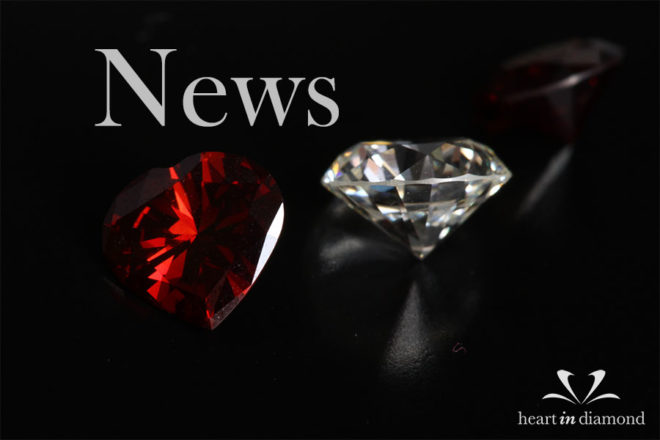 Diamond news cover image, showing a red and white cremation diamond and the heart in diamond logo