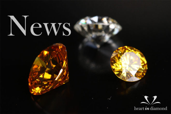 cremation diamond news cover image, showing 2 yellow and one white diamond and the heart in diamond logo