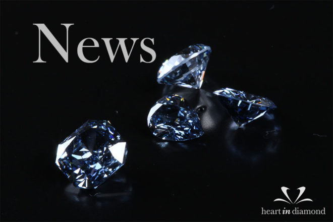 diamond news cover image, showing 1 blue asscher cut diamond and 3 blue diamonds made from ashes