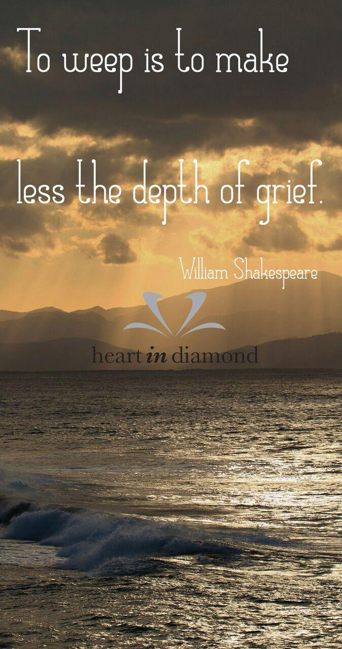 To weep is to make less the depth of grief quote, on the background the sea and sunset