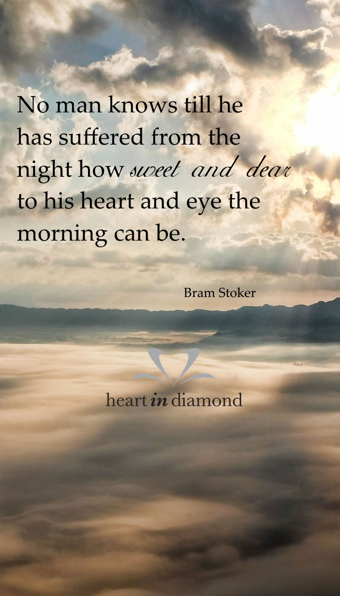Image with Bram Stoker quote about suffering. Image shows sun behind the clouds