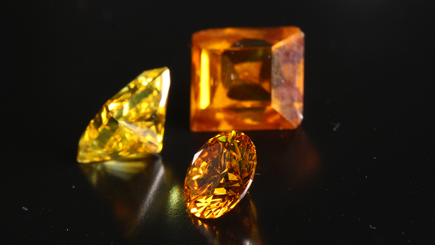 Yellow Orange Brilliant and Princess Cut Diamond