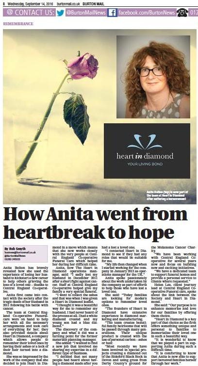 Scan of news article about Heart In Diamond and how a cremation diamond helped Anita