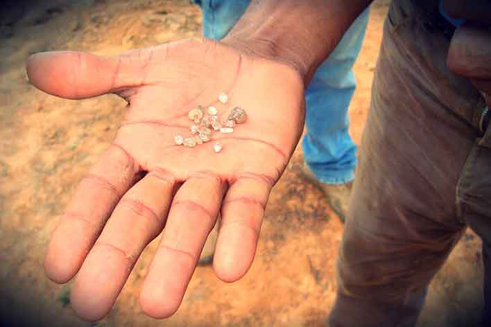 A full hand of the mined diamonds