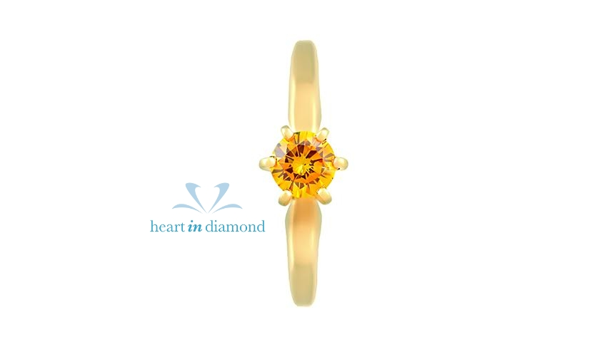 Brilliant diamond yellow gold ring