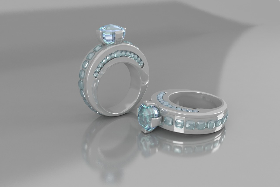 Two diamond wedding rings made from hair